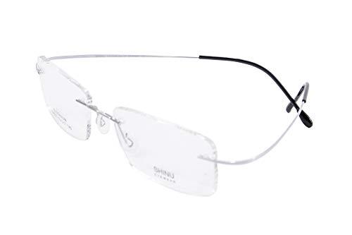 SHINU Titanium Randloser Rahmen MR-7 anti blau Light Kundenspezifische kurzsichtige Brille-NS021(C3,anti blau-3.50)