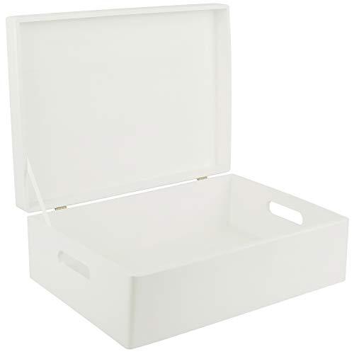 Creative Deco XL Weiß Große Holzkiste Aufbewahrungsbox Spielzeug | 40 x 30 x 14 cm (+/- 1 cm) | Mit Deckel zum Dekorieren Aufbewahren | Mit Griff | Perfekt für Dokumente, Wertsachen und Werkzeuge