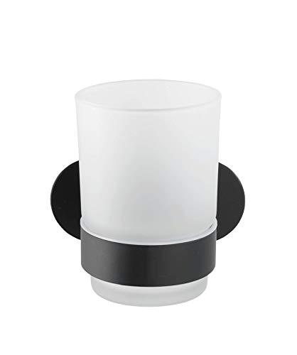 WENKO Turbo-Loc Uno Orea - Portacepillos de Dientes (Montaje sin Agujeros, Vaso extraíble de Cristal Satinado, Soporte de Acero Inoxidable, 10 x 9,5 x 10 cm), Color Negro Mate