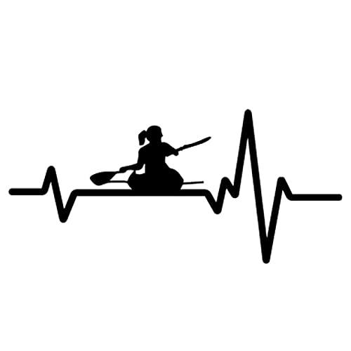 SCSHY Engomada del Coche 17 Cm * 7,9 Cm Heart Beat Line Kayak Girl Paddle Sea Ocean River Pesca Etiqueta Engomada del Coche Vinilo Calcomanía Decoración Negro/Plata
