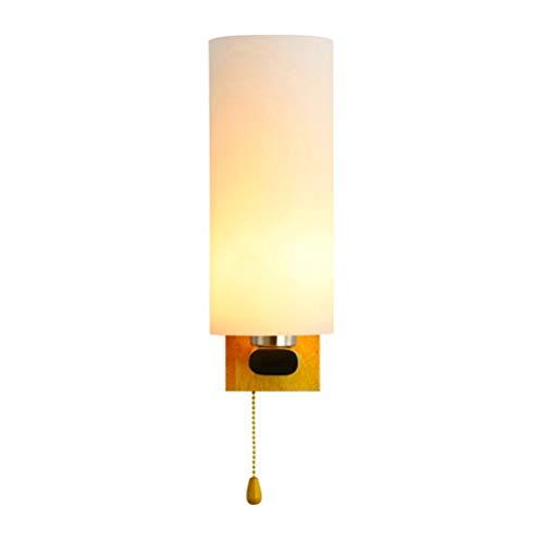 Lámpara de pared LED de madera maciza con interruptor de tiro, luz de noche para dormitorio Lámpara de pared de madera Lámpara de noche moderna de 5 W en blanco cálido, pantalla de vidrio redonda