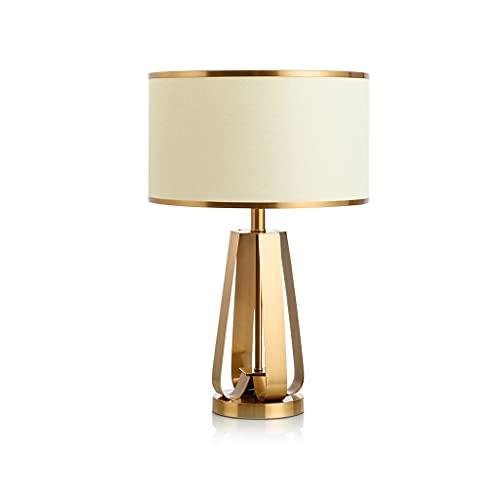 TDJJZHXYP Lámpara de Mesa Dormitorio de Noche lámpara de Noche Americana Simple Creativo Sala de Estar Lado Varias Sala de Estudio Metal Dorado lámpara Decorativa