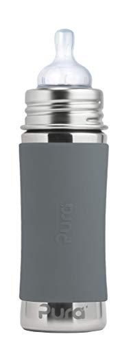 Pura Kiki Babyflasche mit Sauger, Edelstahl Sleeve Hülle, 300 ml, plastikfrei Grau