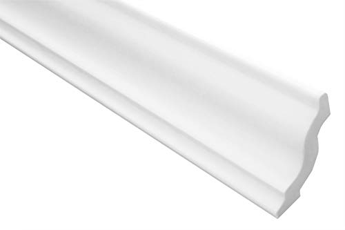 Zierleisten Sparpaket E-5 | leicht und stabil | extrudiertes Styropor | Stuckprofile | Decken-/ und Wandübergang | modern weiß | dekorativ | XPS | 40 x 45 mm | 50 Meter