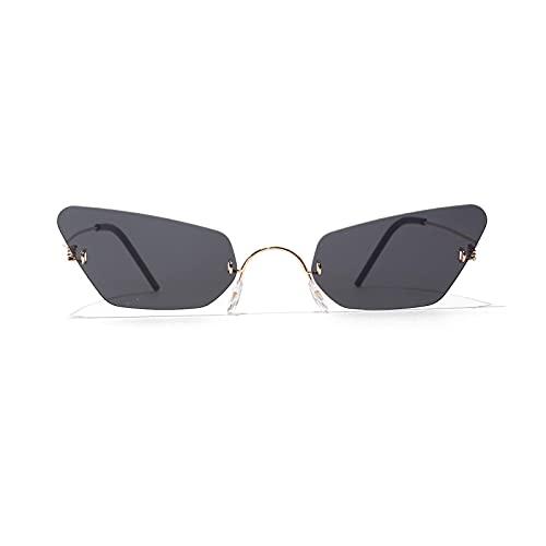 FENGHUAN Gafas de sol de ojo para mujer Tendencia retro con gafas de montura pequeña sin bisel para hombre Negro
