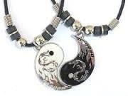 Best Friend Dragon Yin Yang Black Gray 2 Pendants Necklace Set BFF Friendship Ying