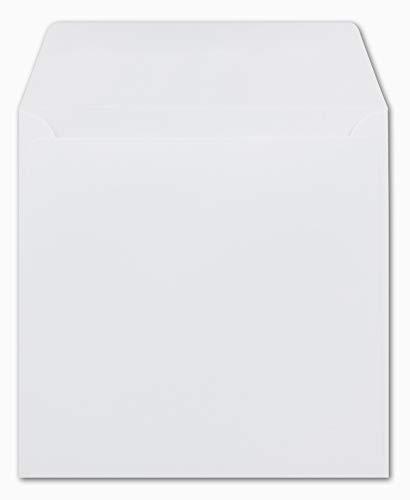 50 Quadratische Briefumschläge Weiß 15,5 x 15,5 cm 120 g/m² Nassklebung Post-Umschläge ohne Fenster ideal für Weihnachten Grußkarten Einladungen von Ihrem Glüxx-Agent