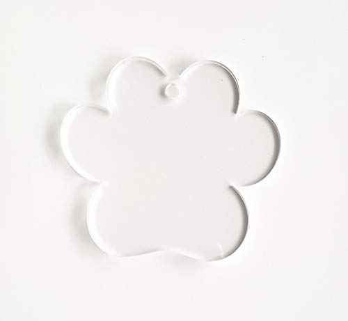 """25 Acrylic Keychains PAW Print Clear Blank 1/8"""" Thick (Optional Key Ring) (2.5"""")"""