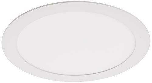 Downlight LED 18W Redondo Plano De Empotrar Luz Blanca Cálida 3000K, Aluminio Aro Blanco Mate, Para Hueco De 200-205mm Blanco
