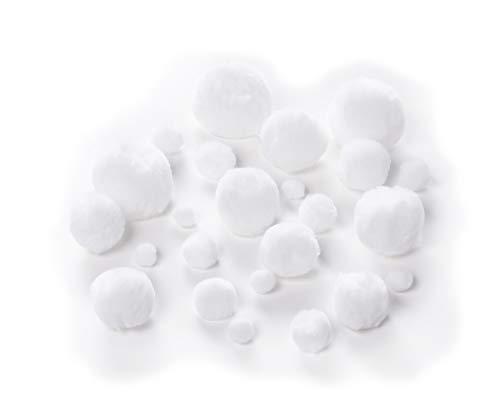 folia 50100 - Pompons, 100 Stück in weiß, sortiert in verschiedenen Größen (10 - 50 mm), flauschig weich, für vielseitige Bastelarbeiten
