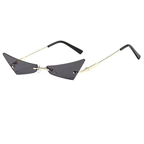WANGZX Gafas De Sol Sin Marco De Moda Gafas De Sol De Ojo De Gatito para Mujer Gafas De Sol Retro para Mujer Gafas De Mujer Uv400 C1Gold-Black