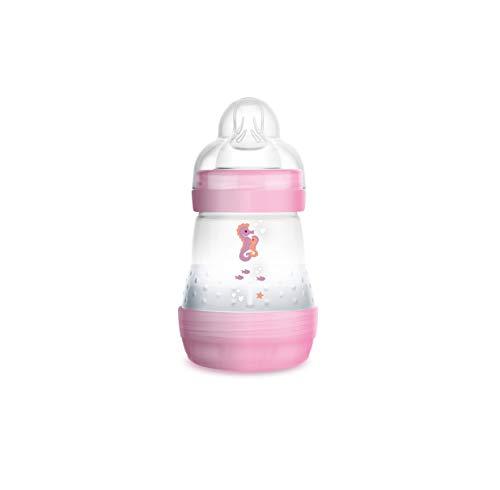 MAM Easy Start Anti-Colic 160 ml, Biberón anticólicos con base de ventilación, biberón MAM autoesterilizable con tetina MAM nº 1 de silicona extrasuave, 0+ meses, rosa