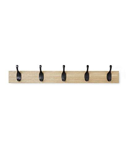 AmazonBasics - Perchero de pared, 5 ganchos modernos, Natural