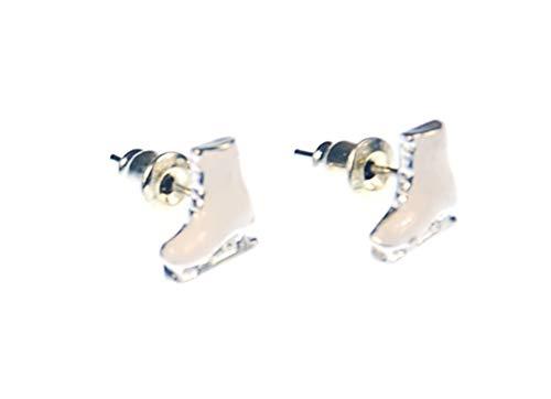 Miniblings Schlittschuh weiß Ohrstecker Stecker Winter Sport Schuh Eisprinzessin - Handmade Modeschmuck I Ohrringe Stecker Ohrschmuck