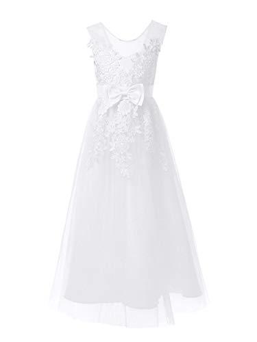 TiaoBug Baby Mädchen Kleid Blumenspitze Partykleid Prinzessin Blumenmädchenkleid Sommer Kleidung gr. 80 86 92 98 104 110 128 134 140 Weiß Elegant 134-140