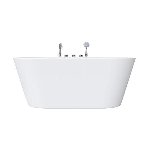 doporro Freistehende Design-Badewanne Vicenza602 180x80x63cm komplett mit Ablaufgarnitur inkl. Armaturen und Überlauf aus Acryl in Weiß und DIN-Anschlüssen