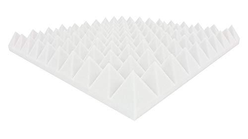 Akustikpur Pyramidenschaumstoff - Weiß - Akustik Schaumstoff Dämmung - 6m² - 24 St. ca. 49 cm x 49 cm x 6 cm -