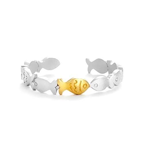 Anillo de natación contra la corriente – Dulce y encantador anillo de pez pequeño, anillo ajustable abierto animal para regalo de la suerte para hombres y mujeres