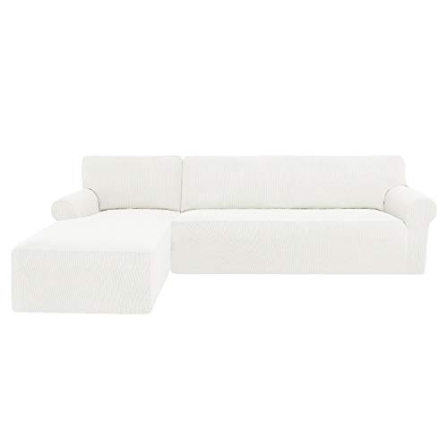 subrtex Funda Sofa Chaise Longue Brazo Izquierdo Elastica Protector para Sofa Chaise Longue Antimanchas Ajustable(Cream)…