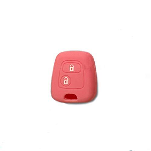 Carcasa colorida de silicona blanda para carcasa de llave de coche, 2 botones, para Citroën C1, C2, C3, C5, Picasso, Xsara, Saxo, Berlingo, en 10 fantásticos colores Rosa