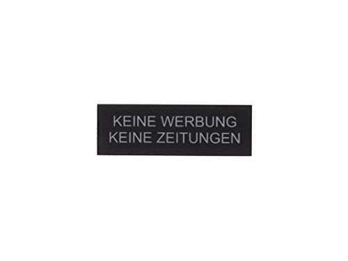 Schilderino Briefkastenschild Türschild individuelle Gravur Name | selbstklebend - personalisiert | Kunststoff - Plastik | viele Farben und Größen (Keine Werbung Keine Zeitungen, Schwarz-Silber)