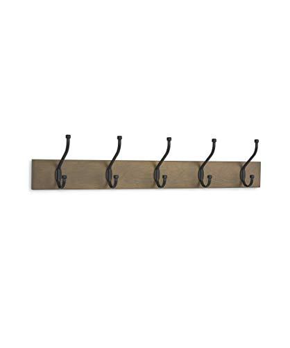 AmazonBasics - Perchero de madera de pared, 5 ganchos estándar 57 cm, Madera noble, 2 unidades