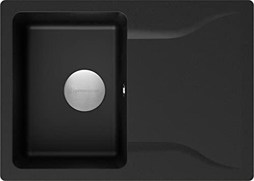 Spülbecken Schwarz 70 x 50 cm, Granitspüle + Siphon Premium, Küchenspüle ab 45er Unterschrank, Einbauspüle von Primagran