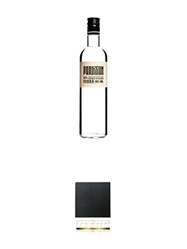 Partisan Vodka 50 Prozent 0,5 Liter + Schiefer Glasuntersetzer eckig ca. 9,5 cm Durchmesser