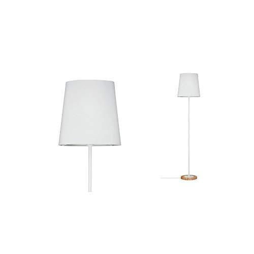 Paulmann 79634 Neordic Stellan Stehleuchte max. 1x20W Stehlampe für E27 Lampen Standleuchte mit Stoffschirm Weiß/Holz 230V ohne Leuchtmittel, Stoff