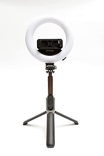 Ring Light Alta PORTATILE con Batteria Ricaricabile. Phone Holder Treppiede. Led Selfie con 28 Luci Calde e 28 Luci Fredde. La Luce ad Anello Utilizza il Sistema Wireless con Telecomando Foto e Video