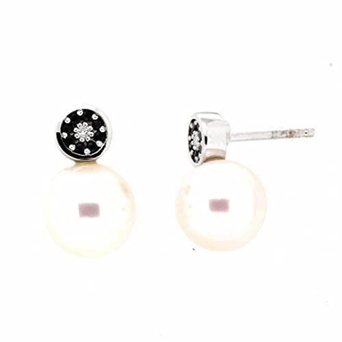 Pendientes diamantes zariros perla oro blanco 18K [35-12281-Z-P]