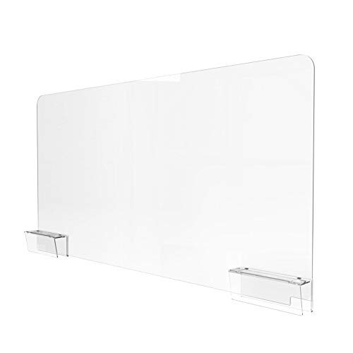 Sneeze Guard for Office Cubicle Wall (48'W x 21'H), Portable Plexiglass Shield Wall Extender, Clear Acrylic Plastic Barrier for Cubicle With Easy Install Adjustable Wall Clamps [Made in USA]