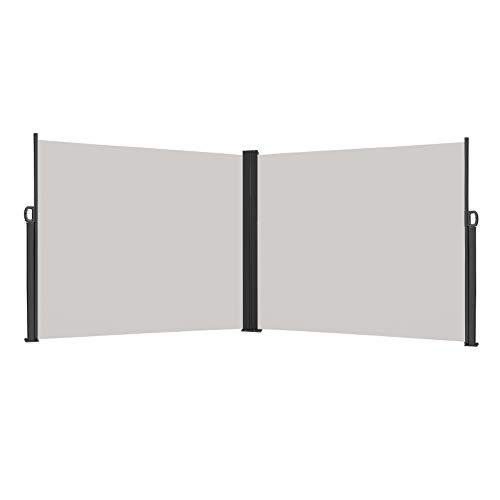Froadp 200x600cm Toldos Lateral de Aluminio Retráctiles Sombrilla Protección Solar y Privacidad Extensible Sombrilla para Balcón Terraza Patio(Gris)