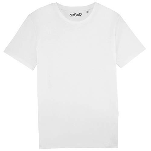 Camiseta de Algodón Orgánico Hombre Vegano - Camiseta Yoga Fair Made Eco Shirt XXS-XXXL (Blanco, Medium)