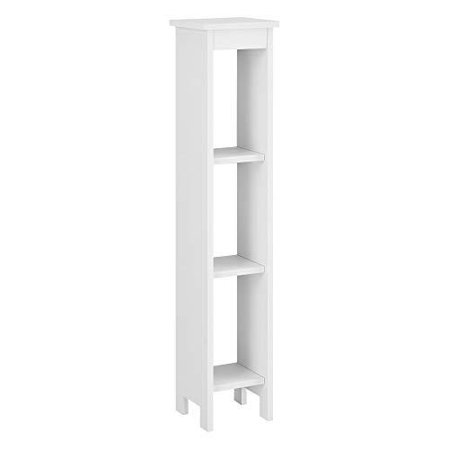 [en.casa] Standregal Arvika 80x17x17cm Nischenregal aus WPC Bücherregal 3 Ablagen Weiß