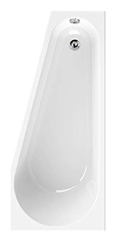Calmwaters® Raumsparende Eckbadewanne 160x70 cm, Acrylwanne Essential Small, platzsparende Badewanne in linker Ausführung, Maße 160 x 70 cm, Eck-Badewanne in Weiß - 02SL3328
