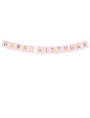 Party Deco Geburtstagsbanner, Girlande, Banner - Happy Birthday Schriftzug, 175 cm - Geburtstagsparty, Partybanner Dekoration für Kinder, Mädchen, Jungen Geburtstagsfeier - Rosa mit Gold