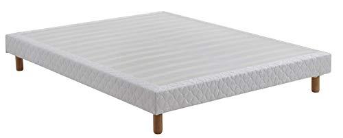 DEWINNER Sommier tapissier volige 160 x 200, 4+2 pieds 28 lattes