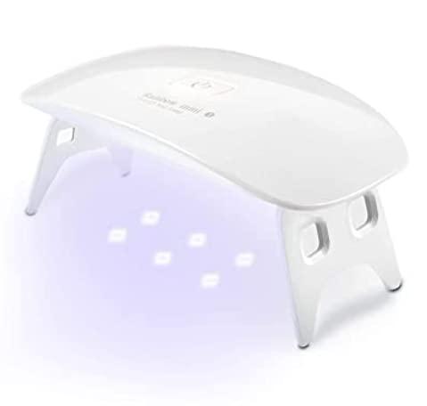 Lámpara LED Uñas UV 6W, Secador de Uñas Profesional, Luz Doble Sensor Automático Temporizador 30s y 60s, Uso en Casa Salón Secado Esmalte y Gel,Lámpara Secado Manicura uñas portatil