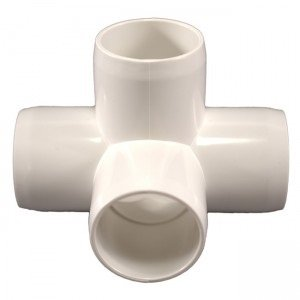 Performance PVC 1 Size Furniture Grade Pack of 4 White 4-Way PVC Side Outlet Tee Fitting