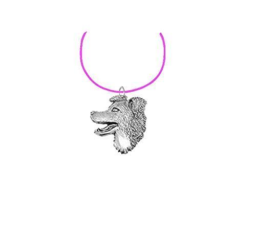 Border Collie Head PP-D16 - Collar de peltre inglés con cordón rosa, hecho a mano, 41 cm