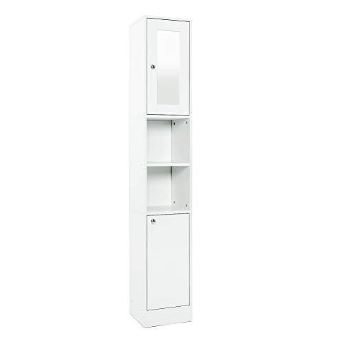 Mondeer Badezimmerschrank Hochschrank für Badezimmer 2 Türen Spiegel Spanplatte(E1) Weiß, 30(L) x 28(B) x 180(H) cm