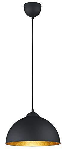 Reality Leuchten Pendelleuchte Hängeleuchte Jimmy , 1 x E27 ohne Leuchtmittel, Durchmesser 31 cm, Außen schwarz, Innen gold-farbig, R30121002