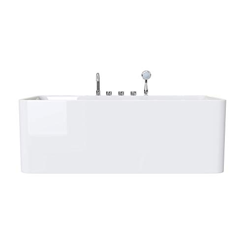 doporro Design-Badewanne Vicenza601 180x80x57cm komplett zur Wandmontage mit Ablaufgarnitur inkl. Armaturen und Überlauf aus Acryl in Weiß und DIN-Anschlüssen