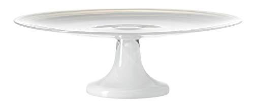 LEONARDO HOME Alabastro Torten-Platte, Torten-Teller mit Fuß, Glas-Platte für Torten u. Kuchen in Weiß, Ø 310 mm, 031197