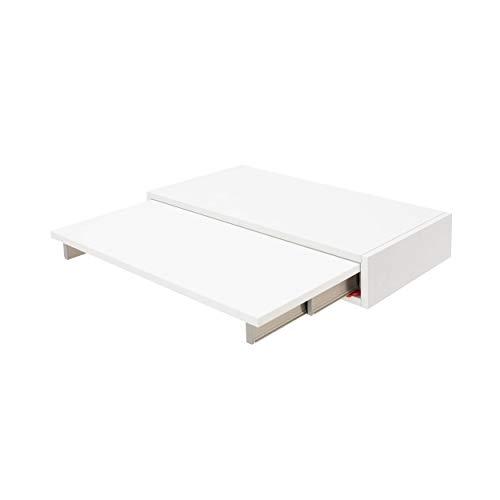 Atim ShelfDesk - Mesa de escritorio multifunción de madera para el hogar o el estudio, ahorra espacio, con escritorio plegable y compartimento de almacenamiento, color blanco