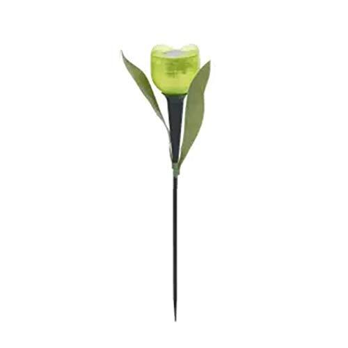 Finetoknow 1 lámpara solar de tulipán con forma de flor de tulipán LED, funciona con energía solar, resistente al agua, tubo de luces de césped para decoración de pie para fiestas al aire libre