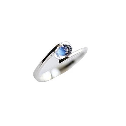 N\C Anillo Ajustable Abierto de Piedra Lunar, artesanía Exquisita, pequeño Encanto Bohemio Azul, joyería de Plata para Mujer