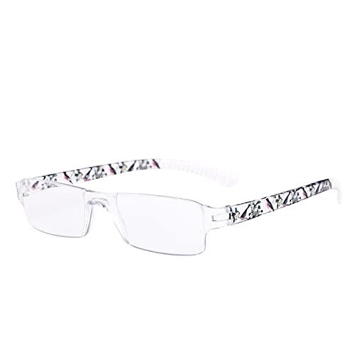 Gafas de Lectura Sin Marco, Gafas de Lectura /Gafas para Presbicia para Mujeres, Moda Gafas De Lectura con Luz Anti-Azul, Gafas Rectangulares con Bisagras de Resorte, Para Leer, Practicas, Comodas