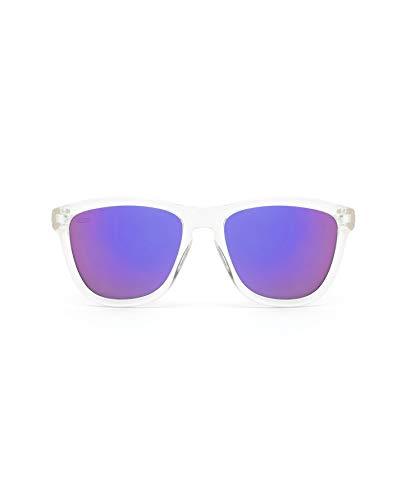 HAWKERS Gafas de Sol ONE Air, para Hombre y Mujer, con Montura Transparente y Lente Azul Morada con Efecto Espejo, Protección UV400